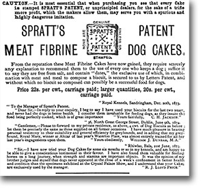 "This Spratt's ad from an 1876 issue of the British Veterinary Journal features testimonials and warns of ""spurious and highly dangerous"" counterfeit dog cakes. Click to see a larger image."